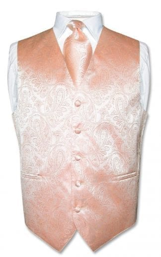 Peach Men's Pailey Tone On Tone Vest with Necktie