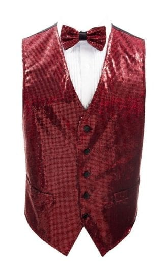 Sequin Vest Red