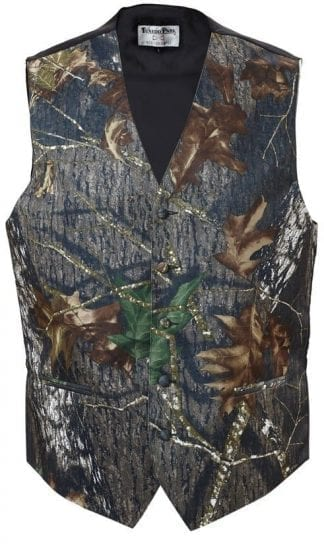 Tuxedo Vest Camouflage Satin Poly Vest With Bow Tie Option