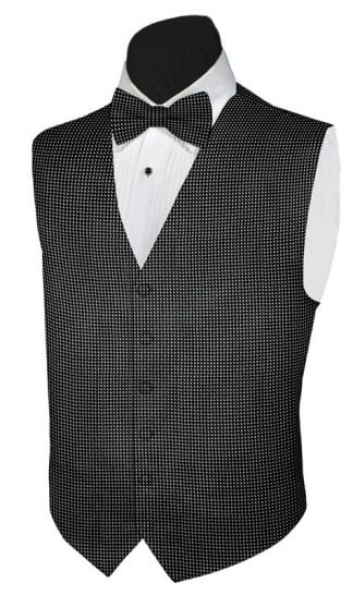 Mens Black and Grey Rustic Slim Fit Wool Tweed Vest with inner pocket