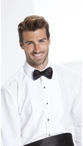 Tuxedo Shirt Slim Fit Laydown Collar Pleated Microfiber