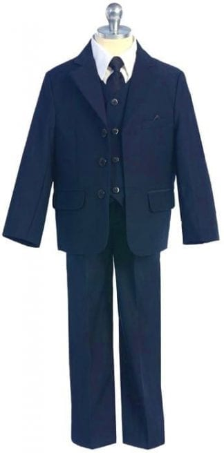 Boys Sky Blue Windowpane Suit 5-Piece Set High Quality – Kids – Toddler – Children – Wedding
