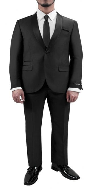 One Button Shawl Lapel Tuxedo Black