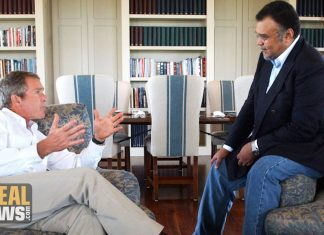 Photo of President Bush meets with Saudi Ambassador Bandar.