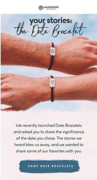 Example of a great email from Wanderer Bracelets, continued below