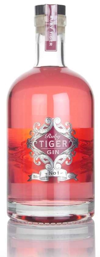 Image shows the Ruby Tiger Gin Bottle.