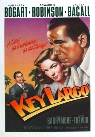 Romantic things to do in Florida: Visit Key Largo ane celebrate Bogie and Ball. Here's the Key Largo movie poster.