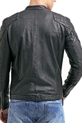 Mens Cafe Racer Leather Biker Jacket Black with White Stripes Back
