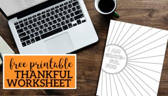 I Am Thankful for Worksheet Free Printable. I am grateful page printable for kids or adults. Great Thanksgiving or Christmas holiday activity. #papertraildesign #thanksgiving #thankful #grateful #blessed #thanksgivingworksheet