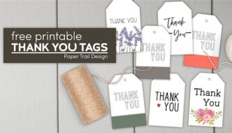 Seven thank you tags with text overlay- free printable thank you tags