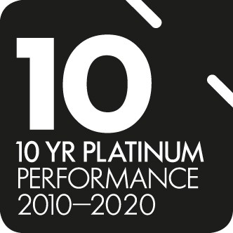 SuperRatings 10 year platinum performance award logo