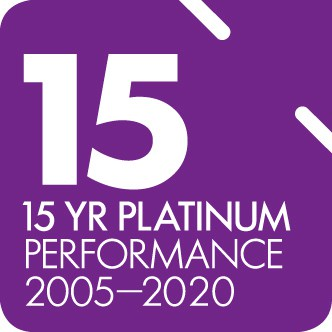 SuperRatings 15 year platinum performance award logo