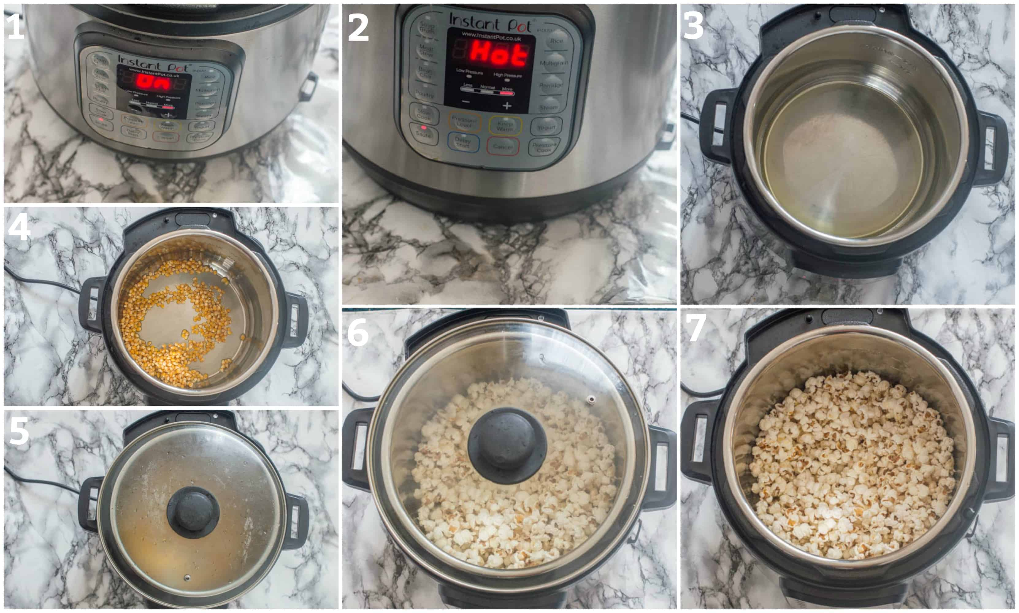 The steps for making instant pop popcorn from scratch