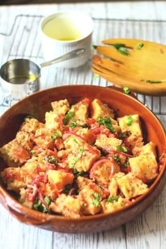 Panzanella is a summer treat with fresh tomatoes and basil