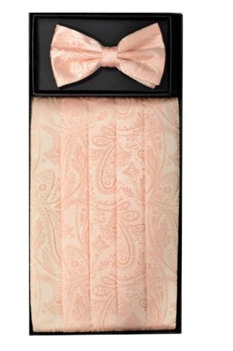 Cummerbund Bow Tie Peach Paisley