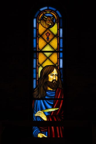 Digitally Printed Stained Glass Saint