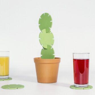Cactus onderzetters (set van 6) glas