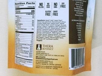 Grown American Superfood ingredient label