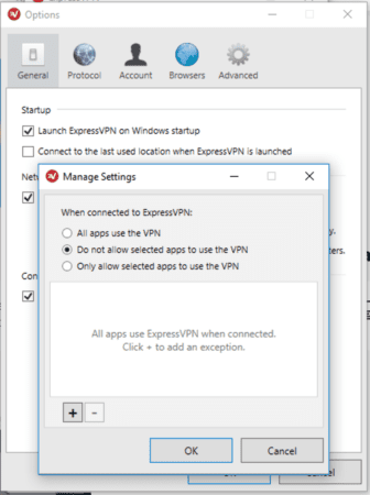 ExpressVPN Windows split tunneling options screen.