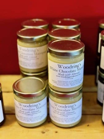 White chocolate and marzipan spread from woodring's in the pike place market