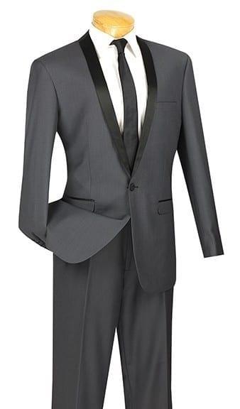 Gray Slim Fit with Black Narrow Shawl Lapel Tuxedo Prom- Wedding