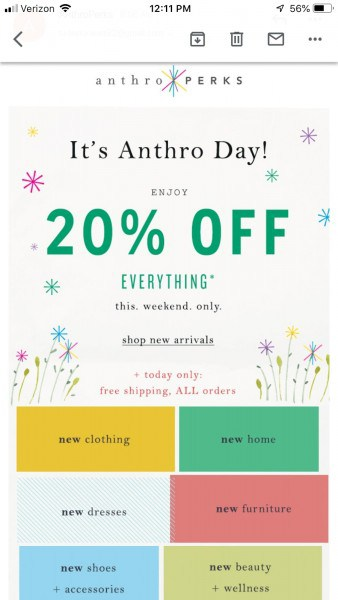 Anthropologie email offer