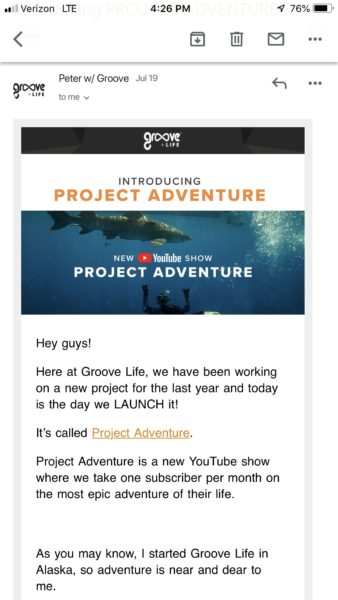 Example of Groove Life's Project Adventure Email