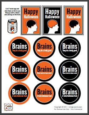 Brains in a Jar Cupcakes! Fun Food Halloween Party Recipe with Free Printables. LivingLocurto.com