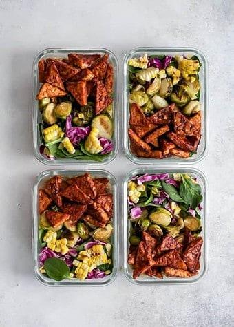 Vegan BBQ Tempeh Meal Prep Bowls-Vegan Meal prep ideas