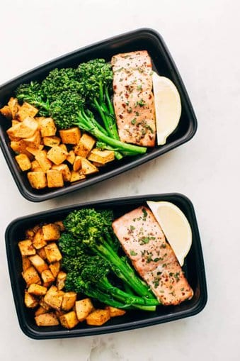Lemon Roasted Salmon with Sweet Potatoes and Broccolini meal prep ideas