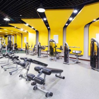 yellow and white painted gym
