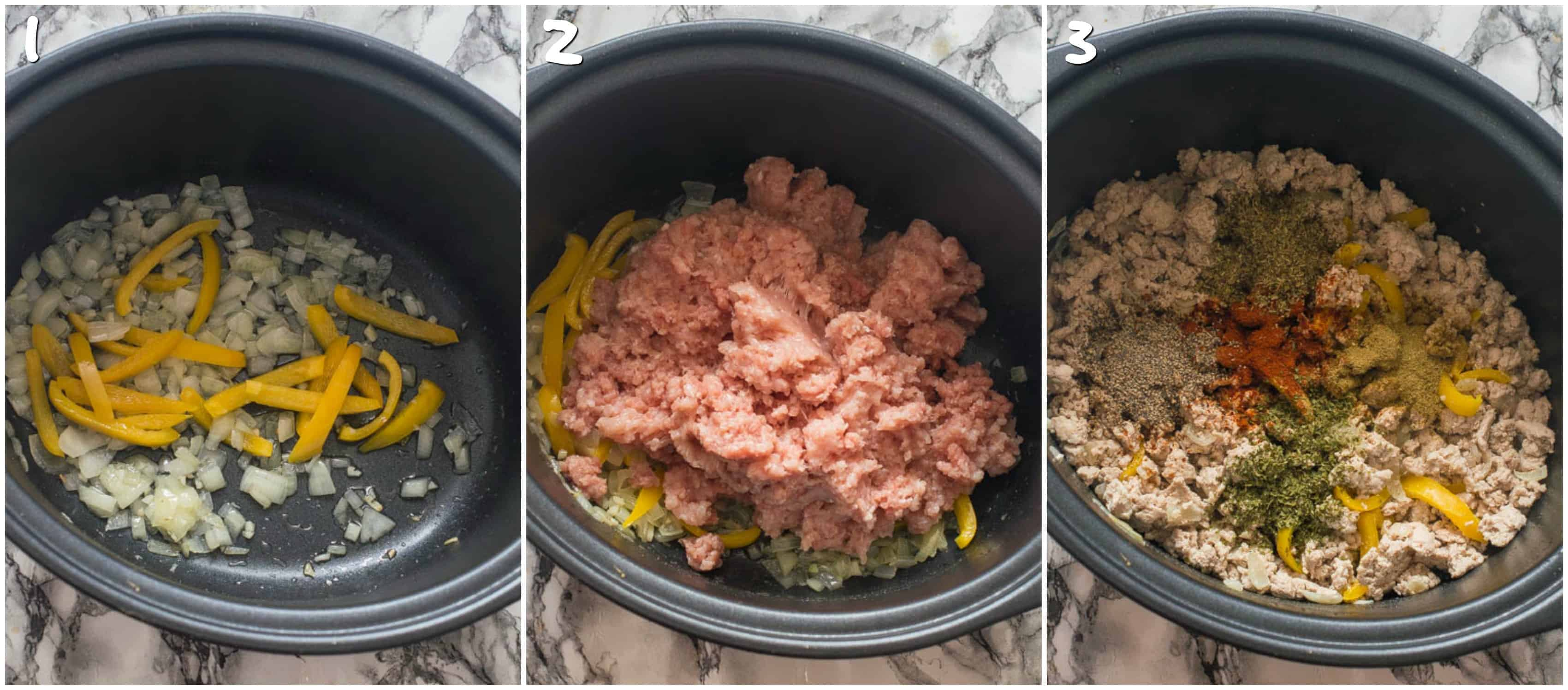 steps 1-3 sauteing and browning meat
