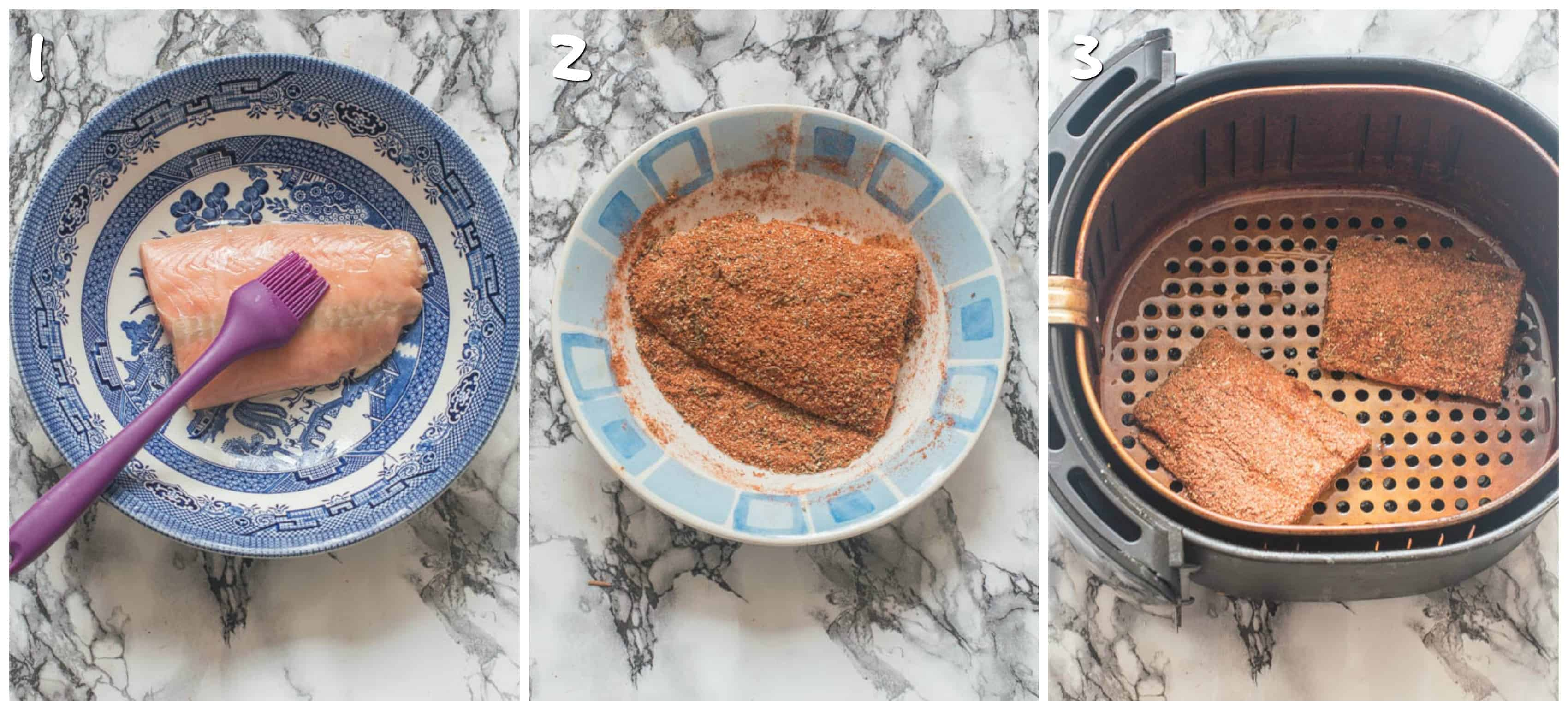 Steps 1-3 for seasoning the salmon fillets