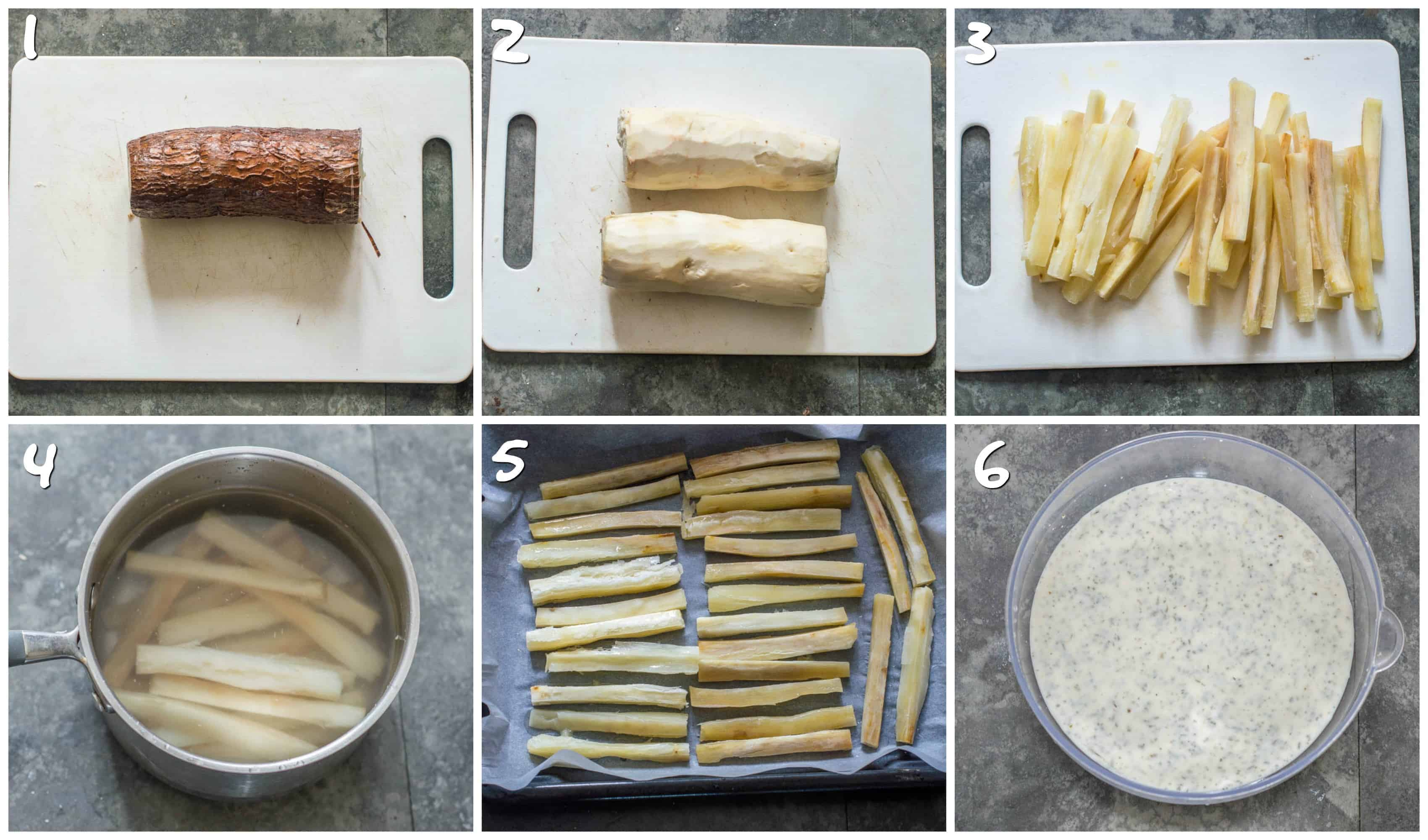 Steps to cutting. boiling and baking the yucca