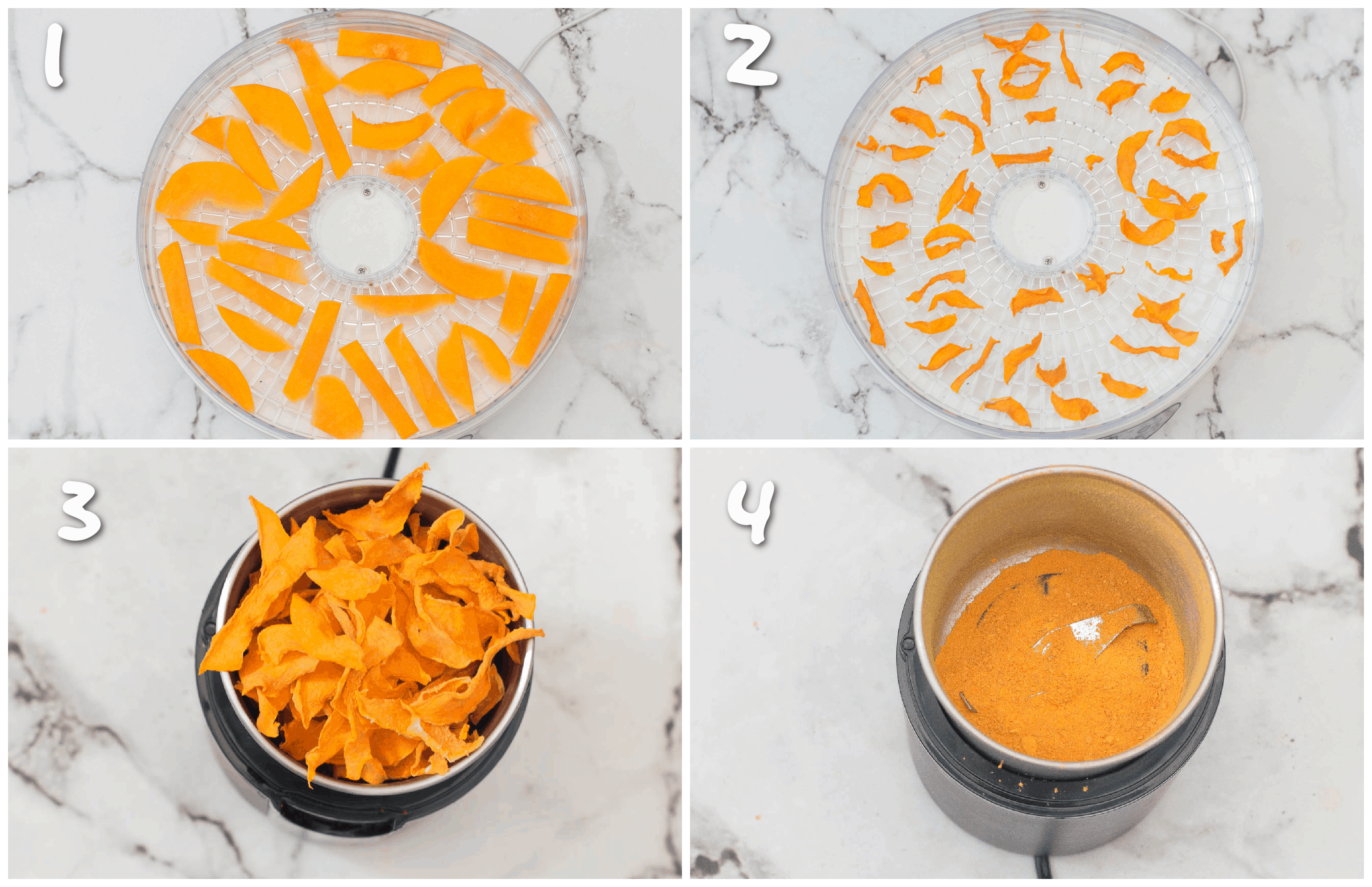 steps1-4 making pumpkin powder