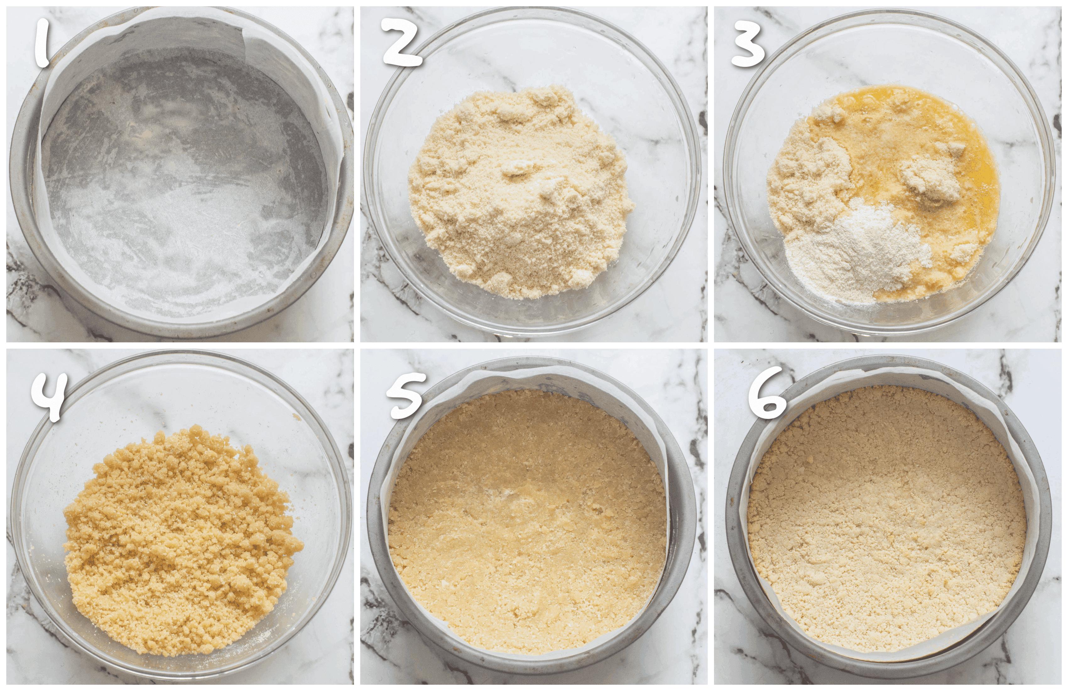 steps1-6 making the cheesecake base