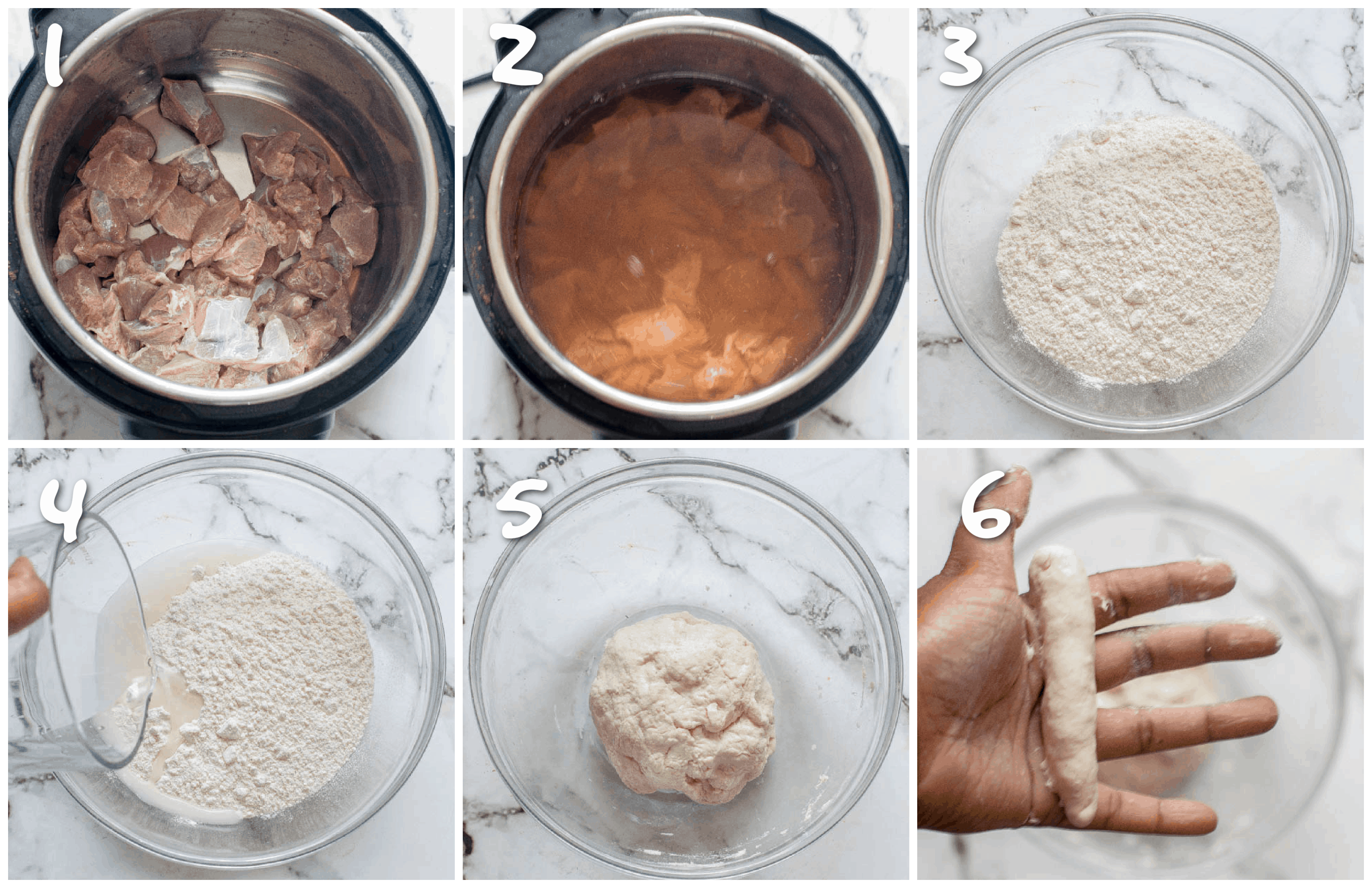 steps1-6 pressure cooking and making the dumpling