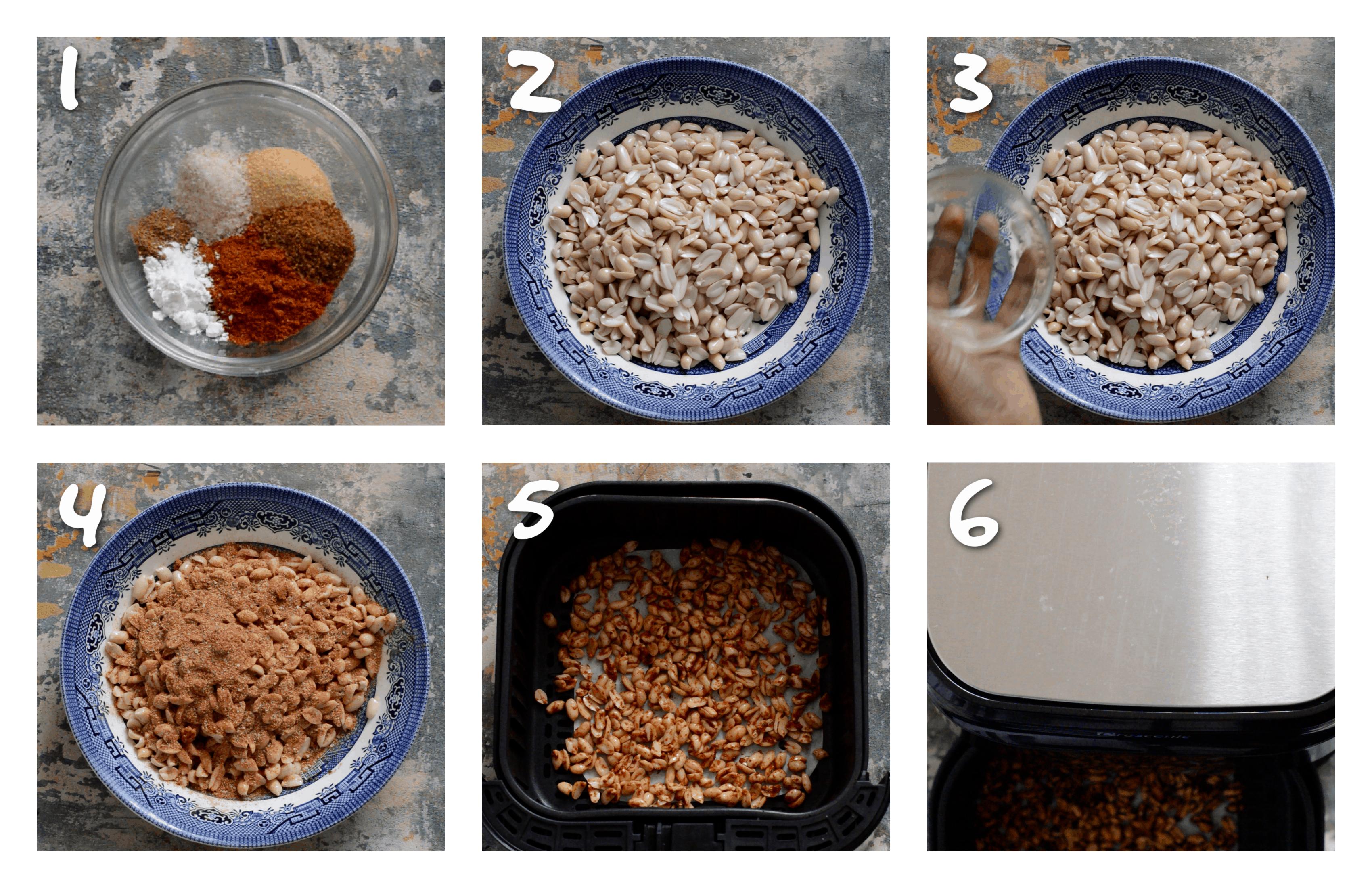 steps1-6 coating the peanuts