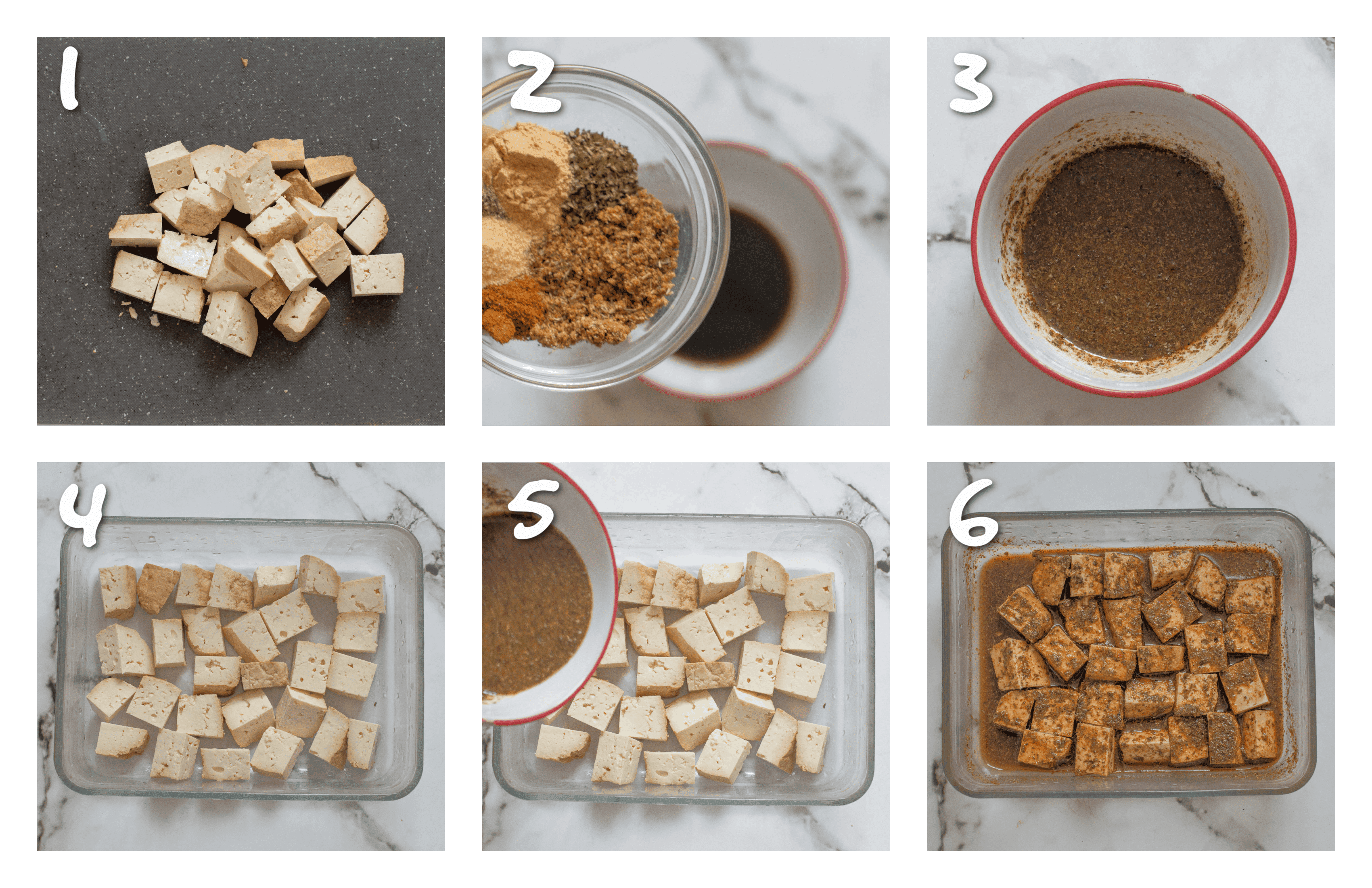 steps1-6 marinating and cooking the tofu