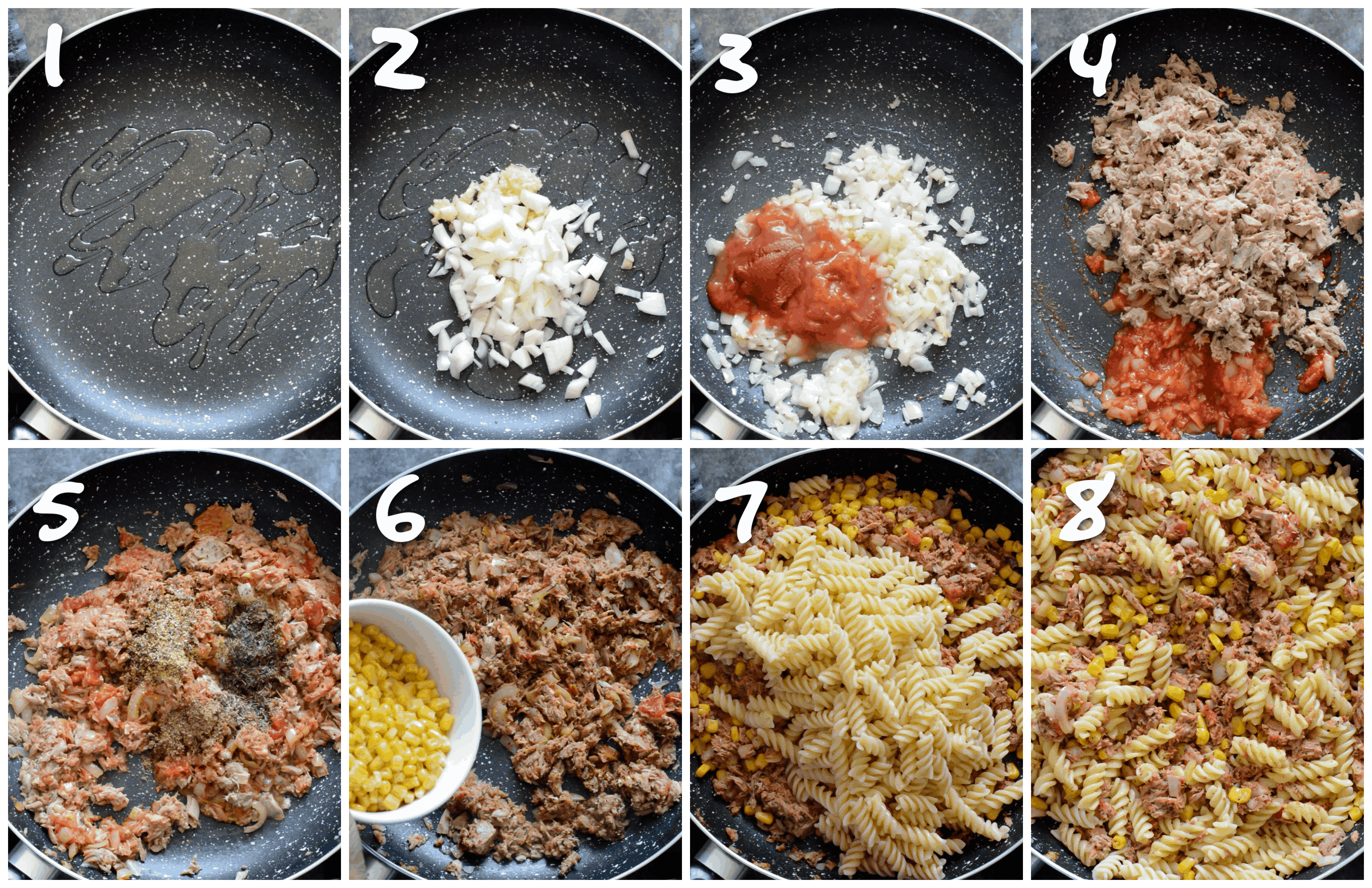steps1-8 sauteing and adding the tuna, sweet corn and pasta to the skillet