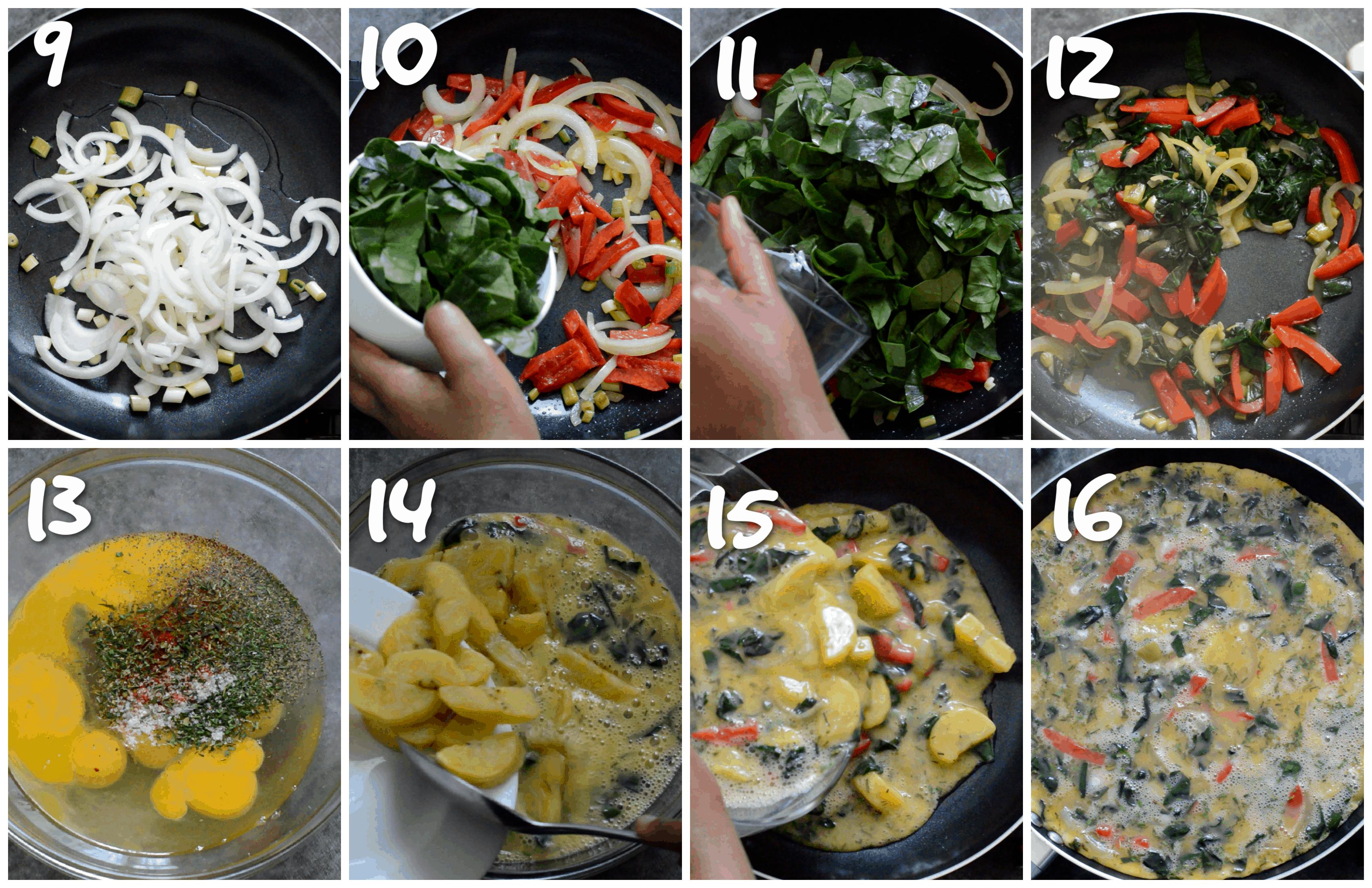 steps 9-16 making the omelette