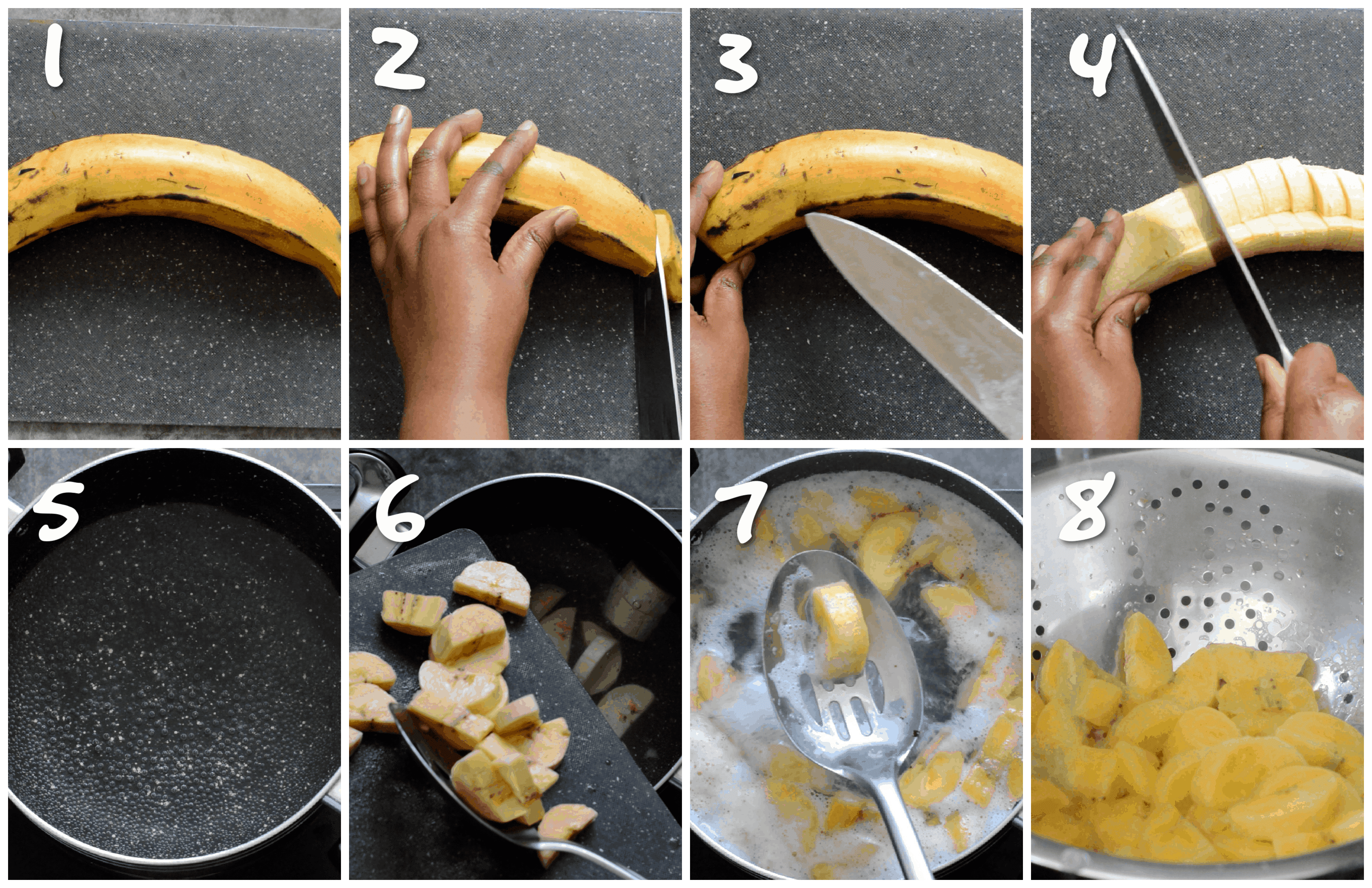 steps1-8 chopping the plantain and boiling it