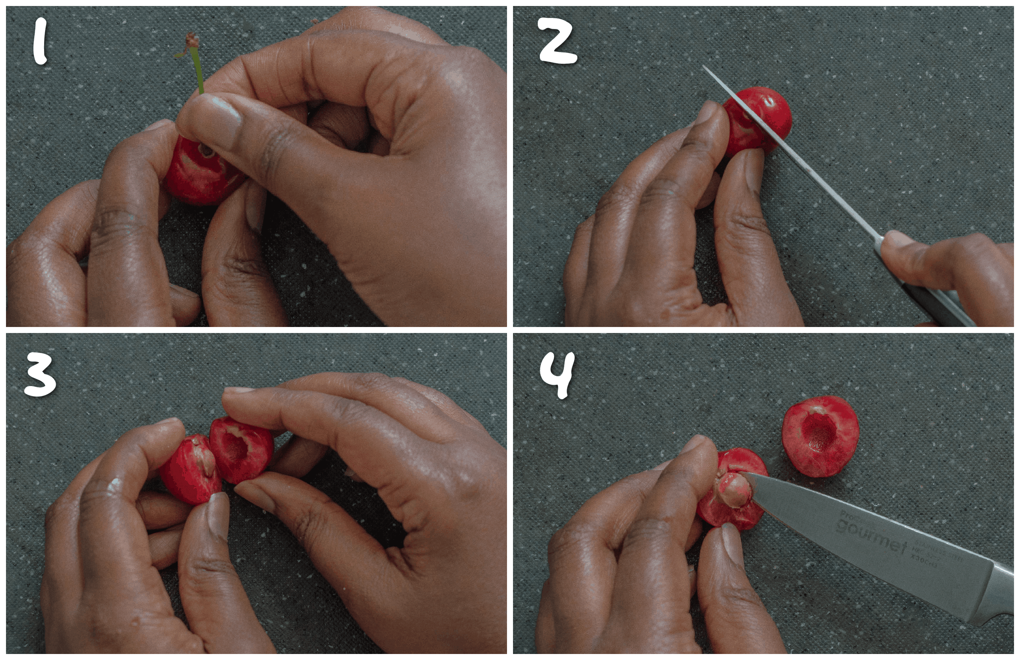 steps1-4 how to remove the cherry pit without a pitter