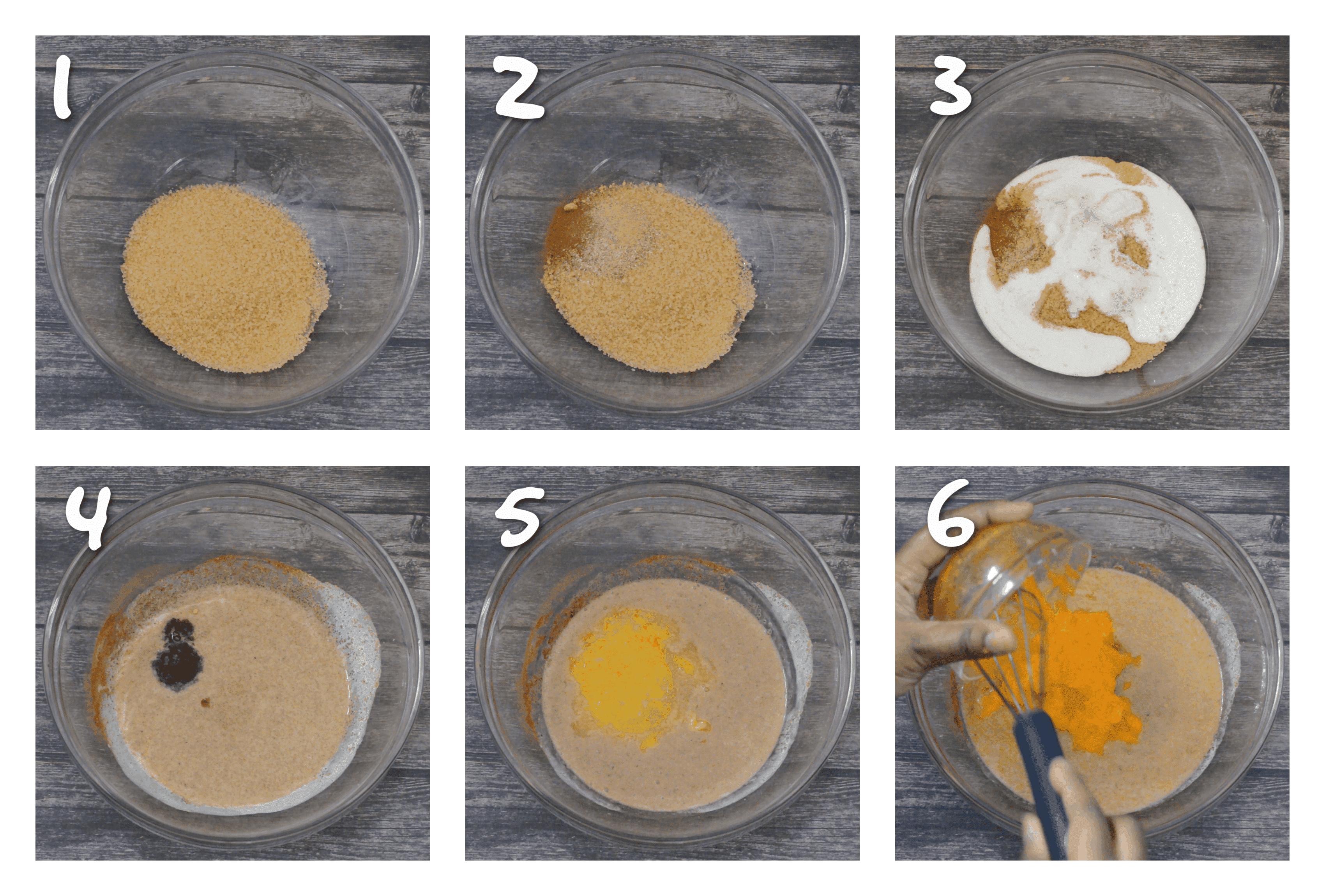 steps1-6 adding the sugar milk and pumpkin