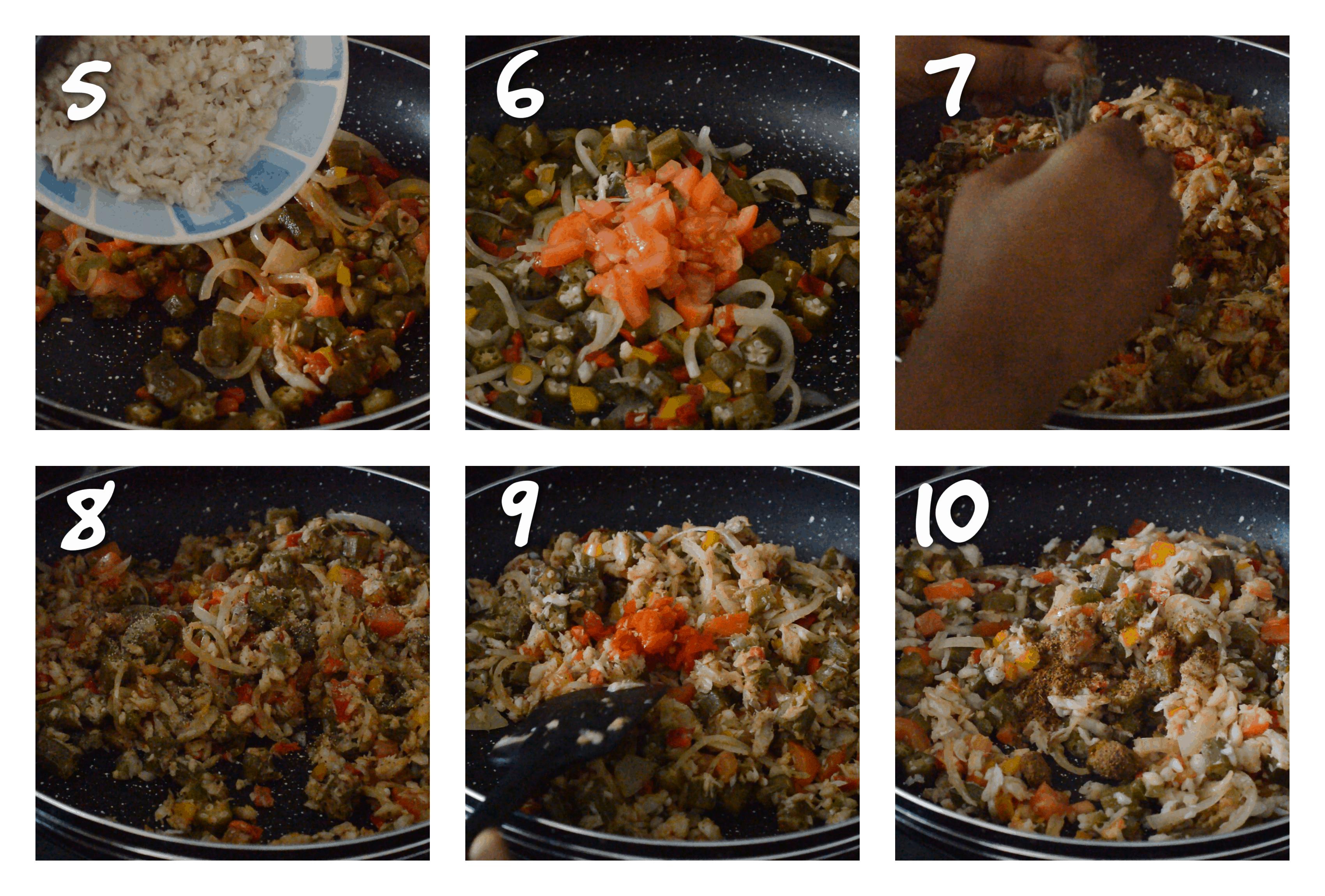 steps5-10 adding the saltfish,thyme and seasoning