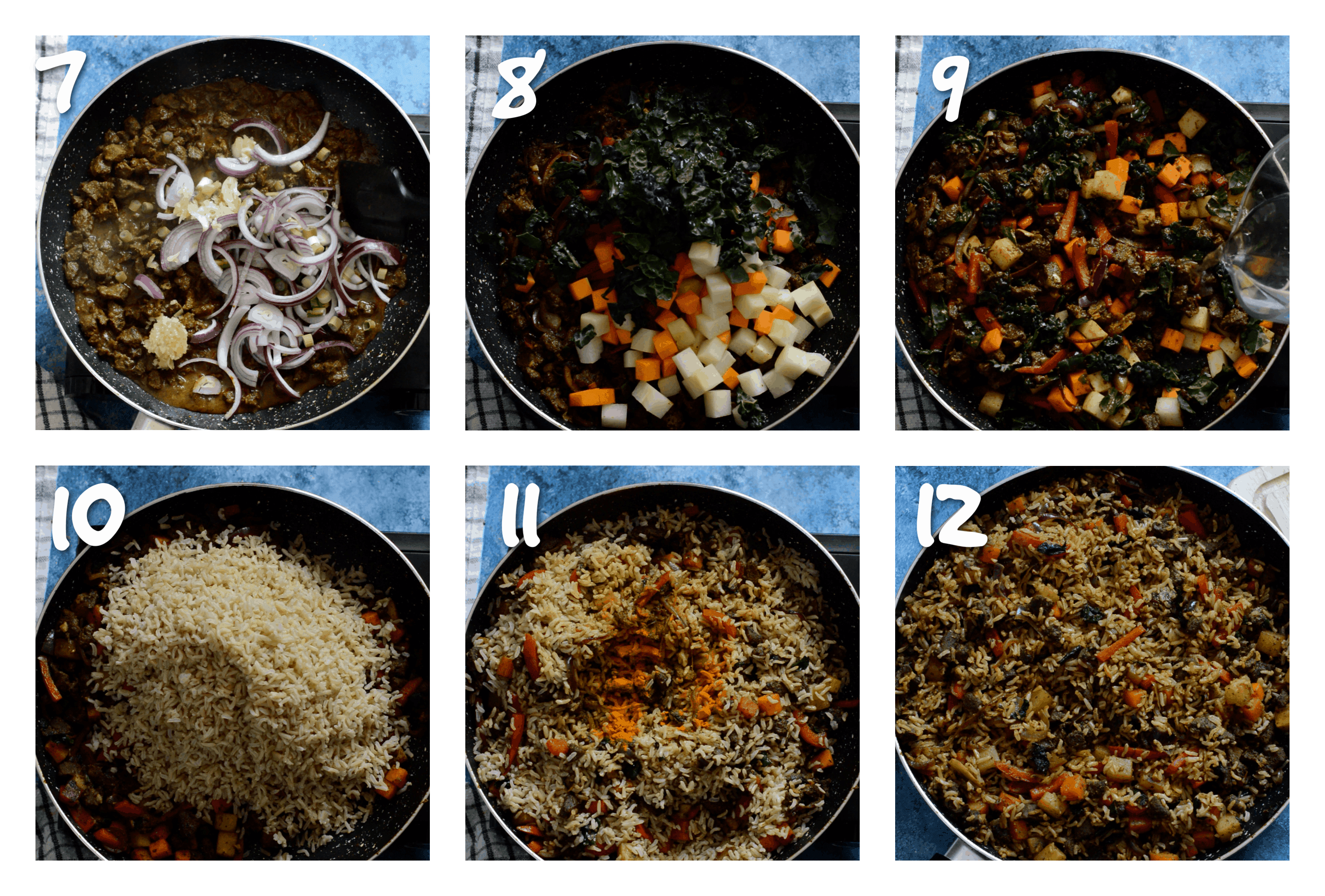 steps7-12 adding the vegetables and rice
