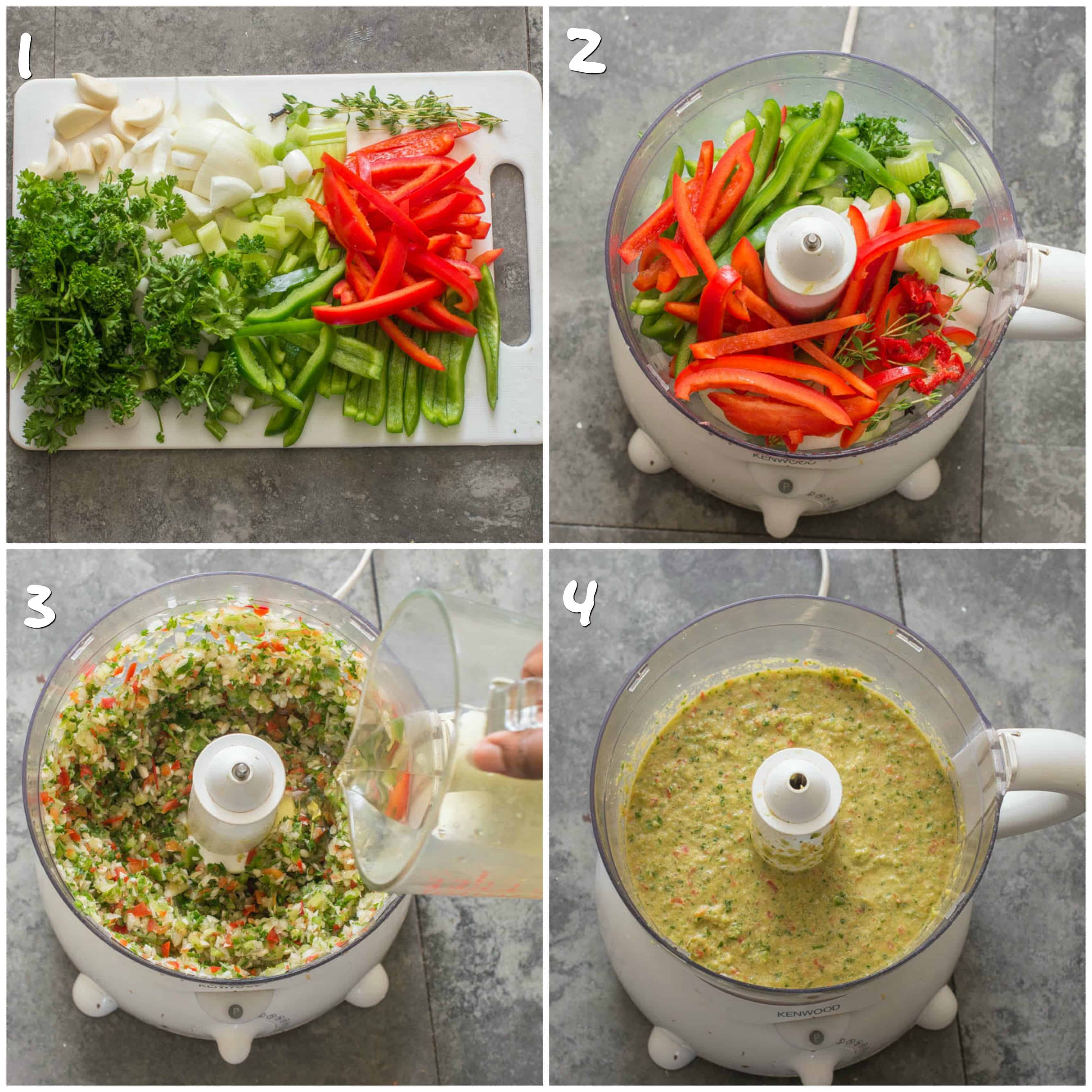 Pureeing the vegetables in a food processor to make epis