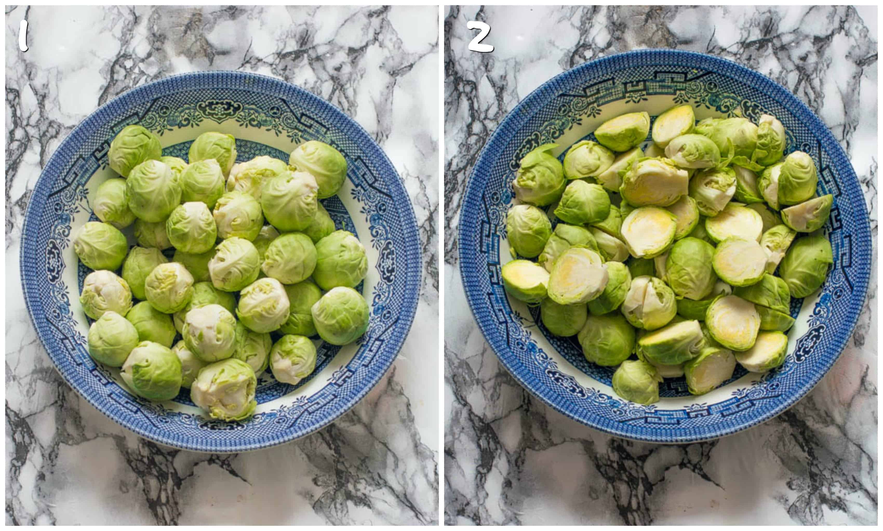 steps 1-2 cutting the brussel sprouts