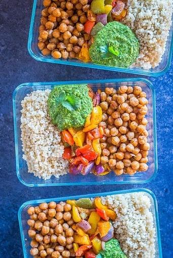 Chickpea Fajita Meal Prep Bowls-Vegan Meal prep ideas