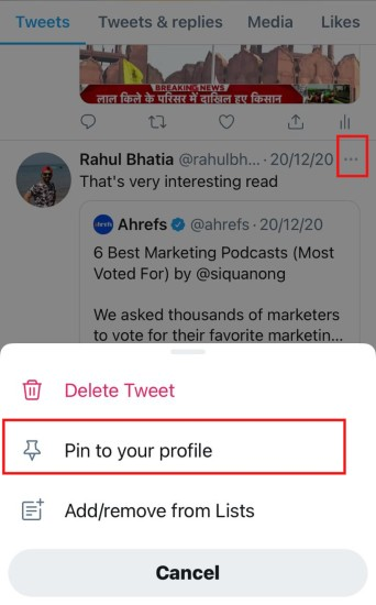 Pin Someone else Tweet on to your twitter Profile